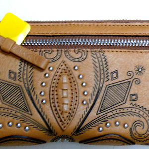 Brighton INDIE Camel Tan Lther Studded Zip Wallet